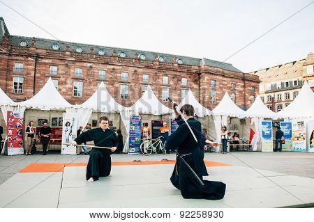 Samurai Sword Public Demonstration By Two Men