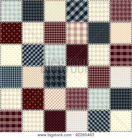 Quilting design in chess order. Seamless background texture.
