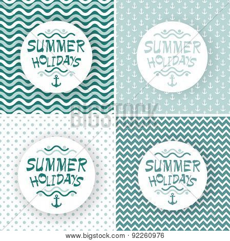 Seamless abstract wave sea pattern with minimal round text box, vector illustration