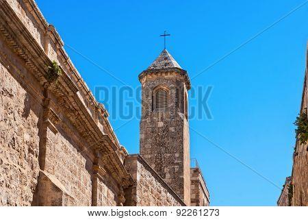 Church Of The Flagellation Tower, Station Ii On Via Dolorosa, Jerusalem Old City.