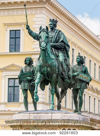 Munich, Germany - 13 May 2014: great statue of King Ludwig I in Munich, Germany