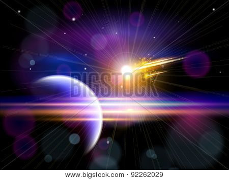 Magic Space - Large comet flying to the blue planet, planets, stars and constellations, nebulae and galaxies, lights