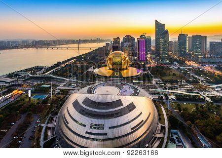 Hangzhou,China-December 5,2014:Illuminated modern skyline of hangzhou.