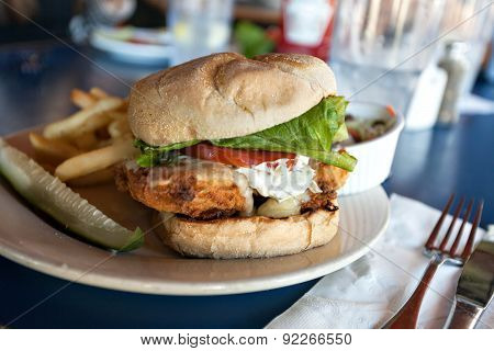 Fried Fish Sandwich with Fries