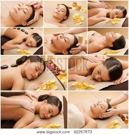 beauty, healthy lifestyle and relaxation concept - collage of many pictures with beautiful asian woman having facial or body massage in spa salon poster