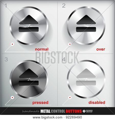 Set Of Four Positions Of Circle Metal Eject Button.