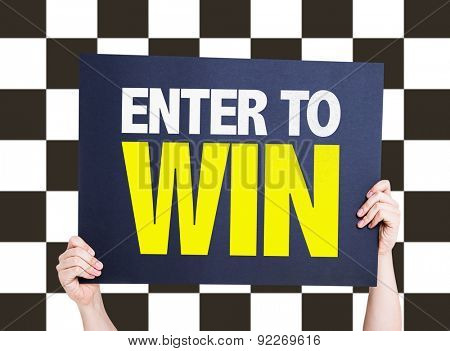 Enter to Win card with checkered flag on background