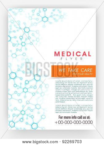 Medical flyer, template or brochure design decorated with blue molecules with place holders.