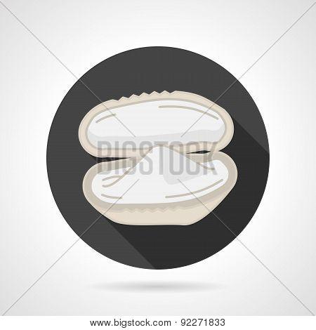 Mussel black round vector icon