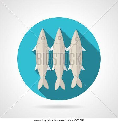 Sardines flat round vector icon