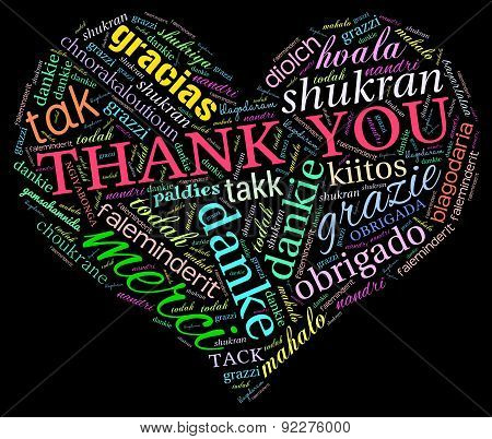 Thank You International Heart Shaped Word Cloud
