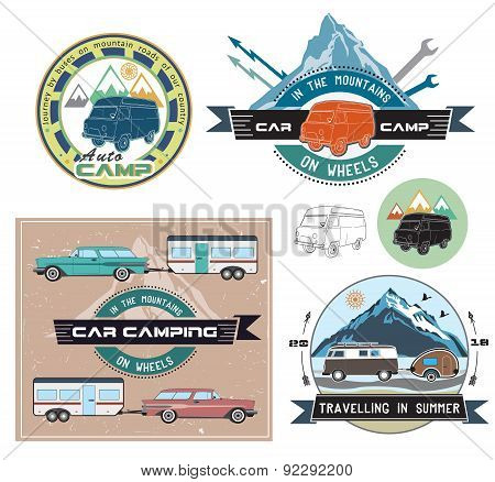 Vector set of cars and camping to stay.