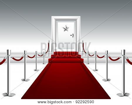 Red Carpet Leading to the Stairs and Door with Silver Star