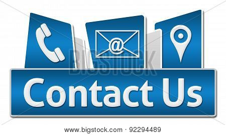 Contact Us Blue Rounded Squares