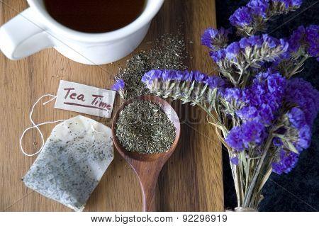 Peppermint Tea On Wooden Spoon