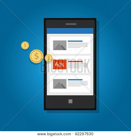 mobile ads advertising phone click marketing digital poster