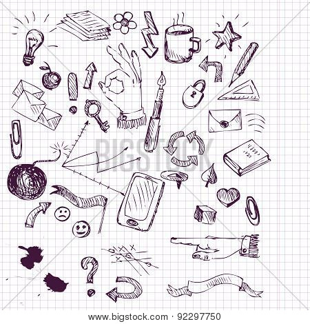 set of busines infographics sketch