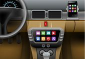Realistic auto interior with car multimedia system and smartphone vector illustration poster
