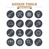 Repair tools linear icons set. Hammer with wrench key, wheel and brush. Screwdriver, electric plug and scissors. Circuit board, magnifying glass and construction helmet. Thin outline signs. Flat circle vector poster