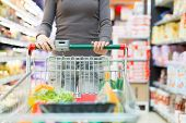 Woman pushing a shopping cart in a grocery store poster