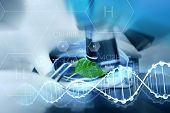 science, chemistry, biology and people concept - close up of scientist hand with microscope and green leaf making research in laboratory over hydrogen chemical formula and dna molecule structure poster