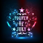 Shiny text Fourth of July decorated with beautiful floral design for American Independence Day celebration. poster