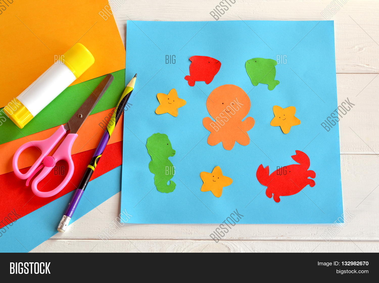 Paper Sea Animals On Blue Card Children Applique Pattern Application Glue Stick