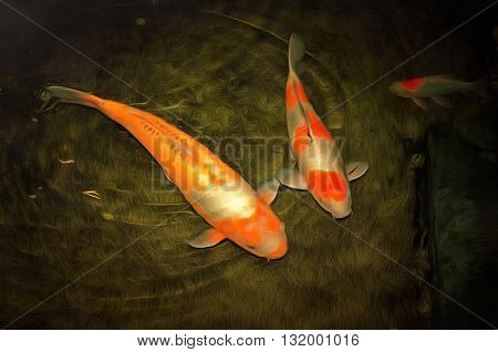 painting of a pair of koi fish in a pond