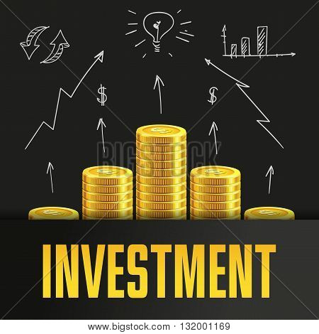 Investment poster or banner design template with golden coins and copy space for text. Vector illustration. Money making. Bank deposit. Financials. Gold and black colors. Business finans vector background.