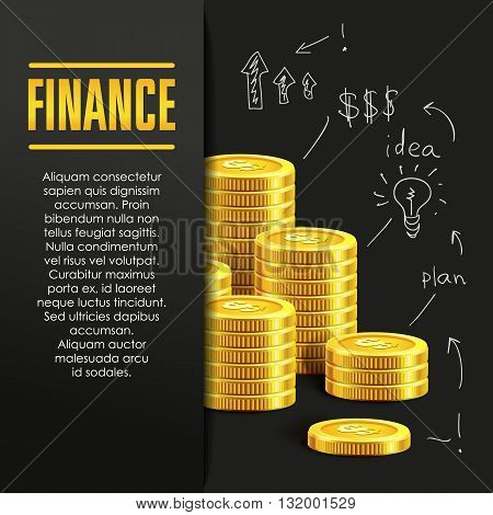 Finance poster or banner design template with golden coins and copy space for text. Vector illustration. Money making. Bank deposit. Financials. Gold and black colors. Business finans vector background.