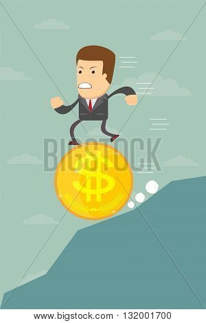 Business man running on a coin with the dollar symbol is pessimistic falling, vector illustration