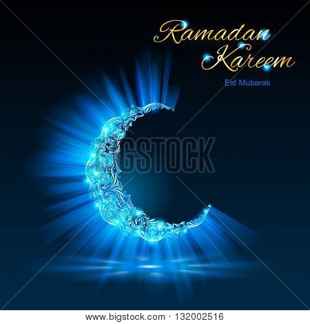 Glowing ornate crescent with bright flare and radiance in blue-green shades. Greeting card of holy Muslim month Ramadan