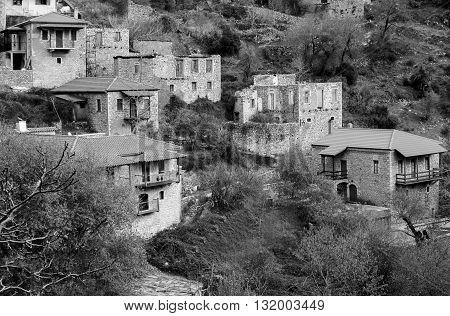 Beautiful traditional achitecture on mountain of Mainalo.Stemnitsa villagePeloponnese.Greece