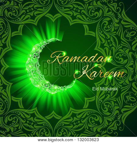 Glowing ornate crescent with bright flare and radiance in vibrant shades. Greeting card of holy Muslim month Ramadan