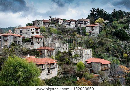 Beautiful traditional achitecture on mountain of Mainalo.Stemnitsa village,Peloponnese.Greece