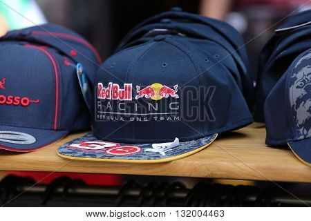 Monte-Carlo Monaco - May 28 2016: Red Bull Racing Formula One Team Cap For Sale During the Monaco Formula 1 Grand Prix 2016