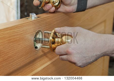 Installing new interior door close-up carpenter hand holding spherical shaped brass door handle knob.