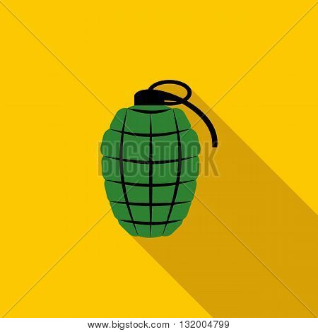 Green hand grenade icon in flat style with long shadow
