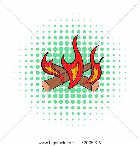 Camp fire icon in comics style on dotted background. Warmth and rest symbol