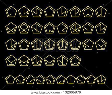 Futuristic unreadable alphabet. Alien font. Vector logo template.