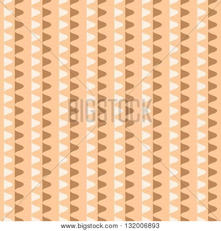 Abstract seamless geometric pattern. Vertical rows of undulating shapes. Endless wavy ornament in orange, brown, white colors. Vector illustration for various creative projects