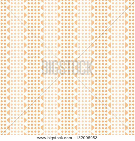 Abstract seamless geometric pattern. Vertical rows of undulating shapes and small circles. Endless wavy dots ornament in orange and white colors. Vector illustration