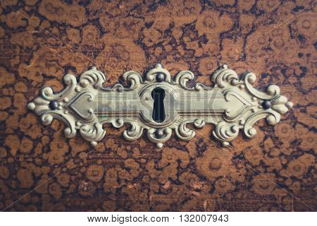 Beautiful Vintage Keyhole On Wooden Furniture