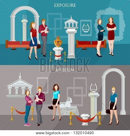 Gallery exposition banner people visiting antique museum excursion vector illustration