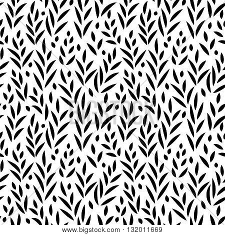 Black and white leaves seamless pattern, vector background