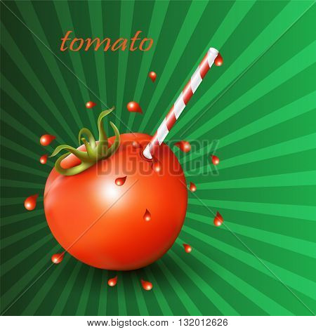 Red fresh tomato with straw on green background. Vector illustration.
