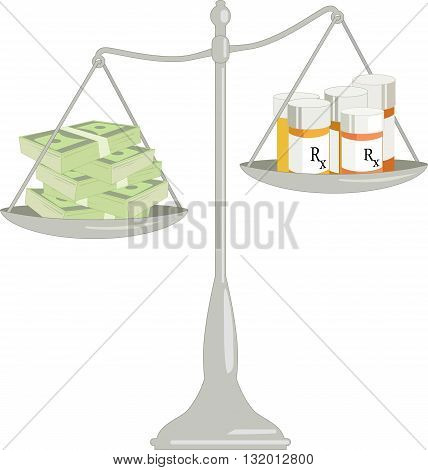 Cost of health insurance and health care. Scales with a pile of money on one pan and bottles of prescription drugs on another