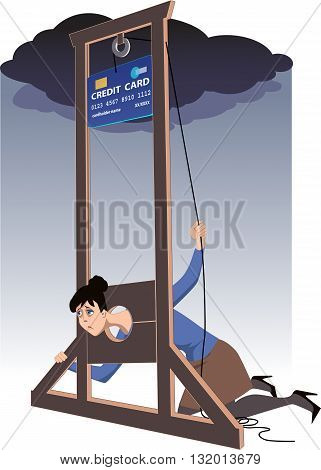 Credit card guillotine. Depressed woman lying in a guillotine and releasing a blade in a form of giant credit card