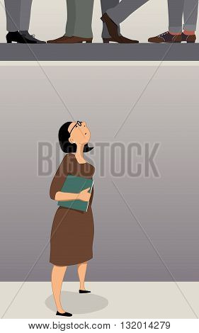 Glass ceiling. Woman in the office looking up at the ceiling, men feet seen at the next floor, vector illustration