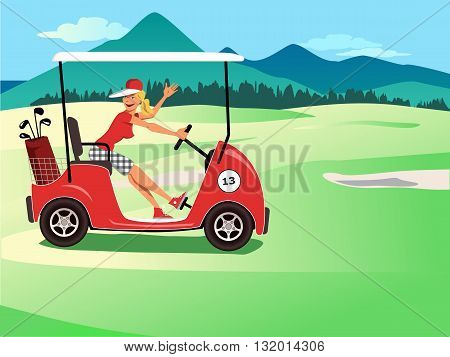 Woman driving a golf cart, smiling and waving, beautiful golf course landscape on the background